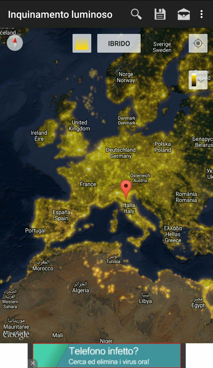 Light Pollution Map L39app Per Scoprire L39inquinamento