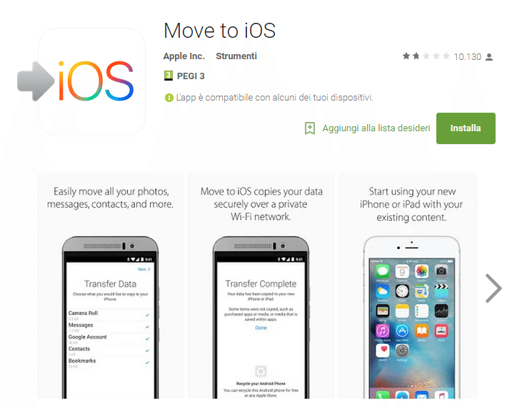 Move to iOS recensioni 5