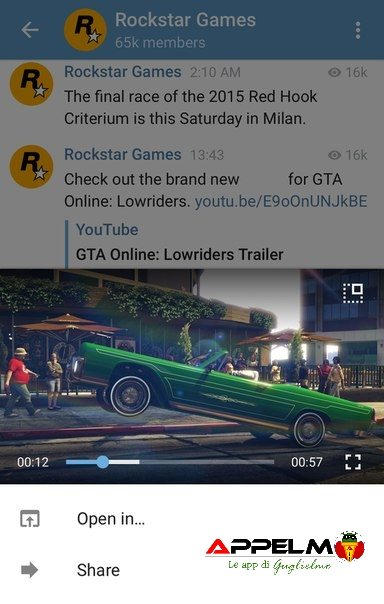 Telegram novità video player 6
